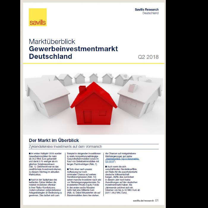 Marktüberblick Gewerbeinvestmentmarkt Deutschland Q2 2018