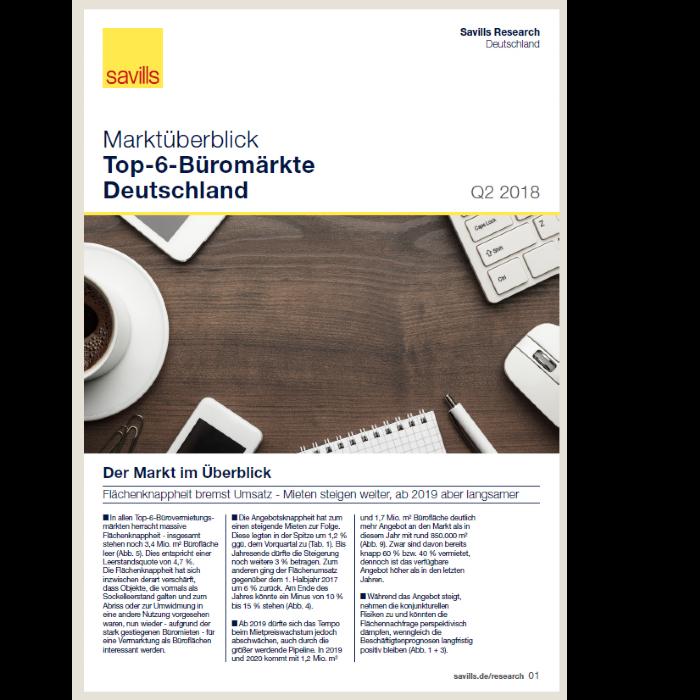 Marktüberblick Top-6-Büromärkte Deutschland Q2 2018